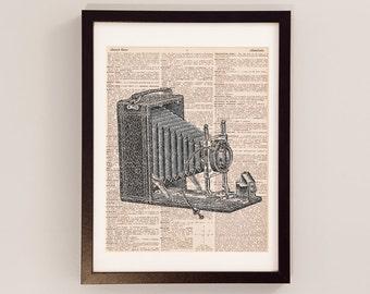 Vintage Camera Print - Photography Art - Print on Vintage Dictionary Paper - Photographer Gift - Black & White Camera