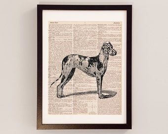 Vintage Great Dane Dictionary Print - Dog Art - Print on Vintage Dictionary Paper - Gift for Dog Lover - Great Dane Art