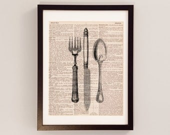 Antique Silverware Dictionary Art Print - Knife, Fork, and Spoon Art - Print on Vintage Dictionary Paper - Flatware, Kitchen Decor, Utensils