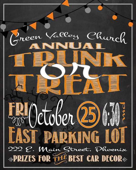 items similar to trunk or treat poster    advertisement