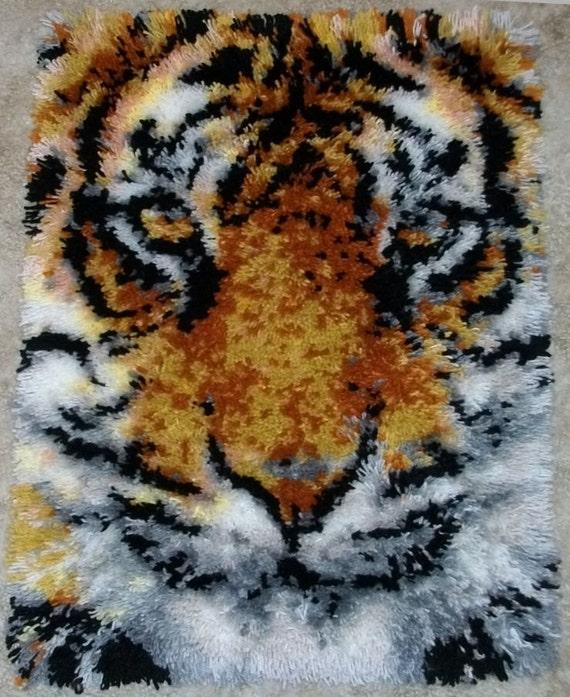 Latch Hook Rug Tiger Face Acrylic Handmade