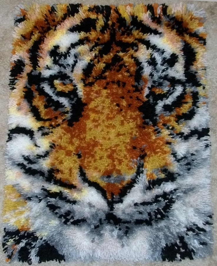 Latch Hook Rug Tiger Face Acrylic Handmade