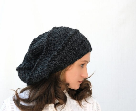 Grey Slouchy Beanie Hat / Chunky Wool Woolen Knit Women Teen Girls Winter Charcoal Hat