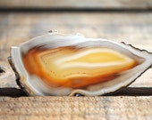 Natural Agate Slice Ring - Geode Slice Amber Yellow Gold Plated Adjustable Statement Ring