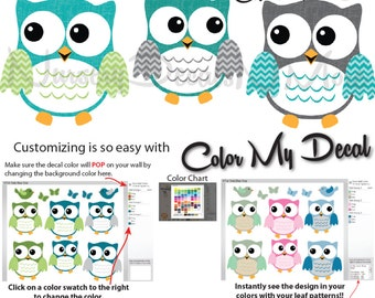 Owl Decals, Nursery Wall Decals for Babys, Owl Stickers (6 Fat Owl Teal, Gray, Green) 6FOO