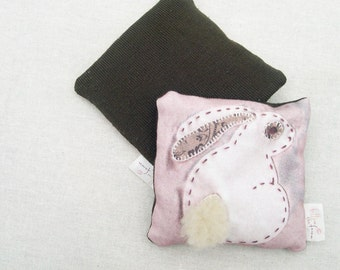 Heat Bag / Cool Bag / Bean Bag Mini. Rabbit / Hare / Easter Bunny. Waldorf / Steiner inspired toy. Child's tactile toy. Soft pink and brown.