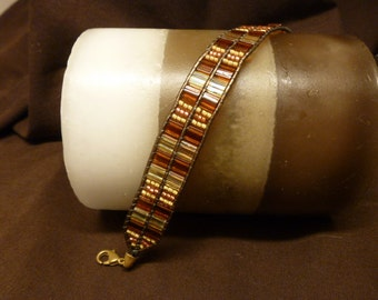 Handmade Leather and Tila Bead Bracelet