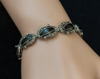 SALE - Vintage Bracelet - Vintage Sterling Silver, Black Onyx, and Marcasite Bracelet