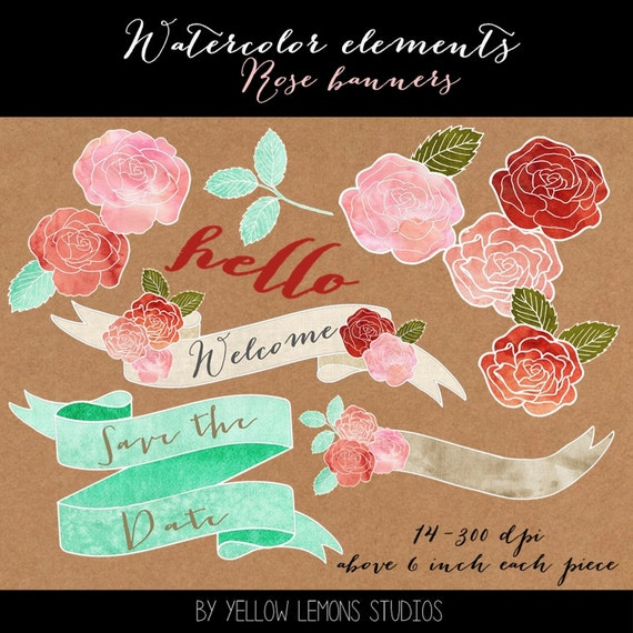 "Watercolor elements ""WATERCOLOR FLOWERS"" roses, pink, red, painted, welcome, wedding clipart, clip art, leaves, save the date, thank you"