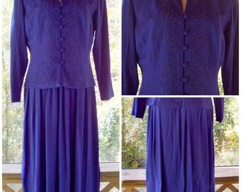 Vintage Purple Dress Suit / 1980s Beaded Dress Suit / Purple One Piece Dress Set