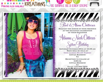 513: DIY - Zebra Print Quinceañera or Sweet 16 Party Invitation Or Thank You Card