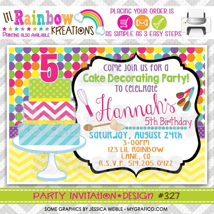 327: DIY Cake Decorating Party Invitation Or Thank You Card