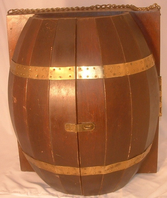 Vintage Wood Wine Barrel Wall Mount Hanging Mini Bar Liquor