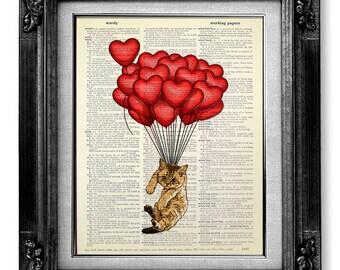 Tabby CAT Art Print, Nursery Wall Art, Red BALLOON, Children Room Art, Cat Painting, DORM Room Wall Decor, Cat Poster - Flying Cat Artwork