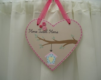 Handmade 'Home tweet home' wooden plaque