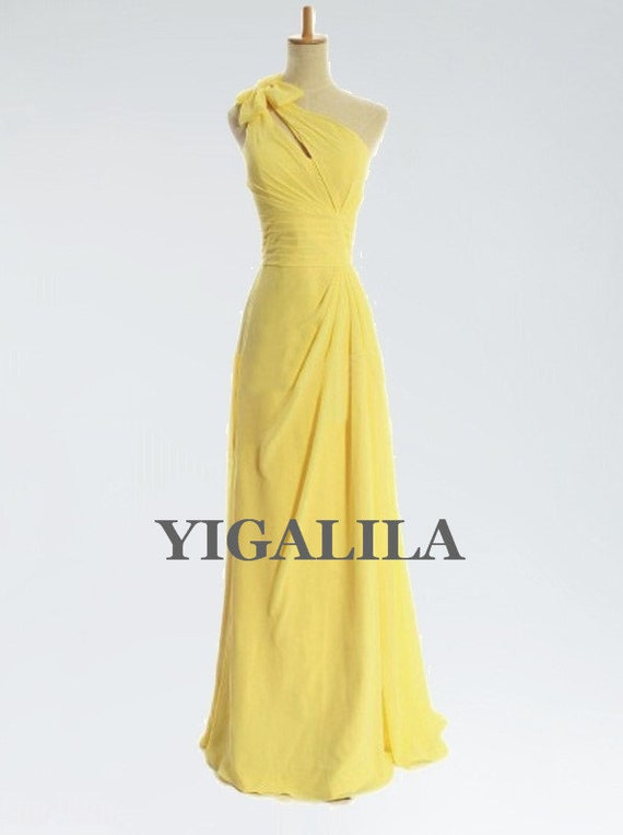 Lady dress/bridesmaid dress/wedding dress/one-shoulder/Chiffon Prom Dresses/yellow
