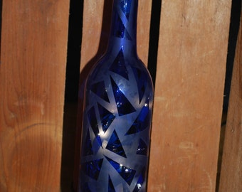 Lighted Triangle Etched Blue Wine Bottle