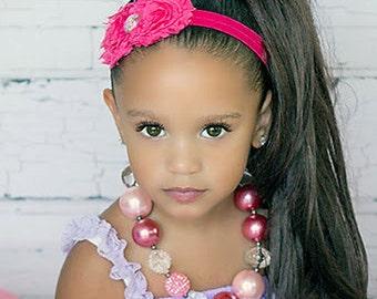 Hot Pink Shabby Headband, Baby Headband, Shabby Chic Headband, Newborn Headband, Toddler Headband, Baby Girl Headband, Flower Headband