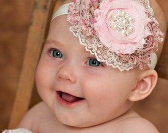 Baby Headband, Baby Headbands, Newborn Headband, Baby girl Headband,Lace Headband,Pink Headband, Shabby Chic Headband, baby bows, Hair bows