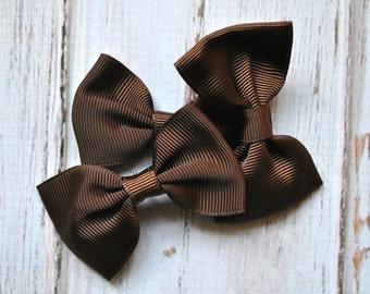"""Brown Tuxedo Bows 3pc - 2.5"""" inch - hair accessory - bow appliques - grosgrain bows"""