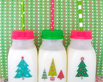 SALE 15 Cute CHRISTMAS CUPS For Kids Plastic Milk Bottles