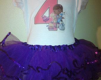 Doc McStuffins Tutu birthday Dress 2pc Tutu set1T,2T,3T,4T,5T,6T,7,8,9,10.