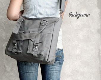 BAILEY // Dark Grey / Lined with Grey // 021 / Ship in 3 days // Messenger / Diaper Bag / Shoulder Bag / Tote Bag / Purse / Gym bag