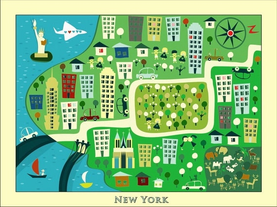 KIDS Maps Kids NEW YORK Map Childrens Maps Kids Map Of New