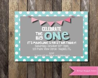 PRINTABLE 1st Birthday Invitation - The Big One Birthday Invitation - Boys Girls Birthday Party 4x6 or 5x7