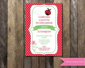 PRINTABLE Birthday Invitation - 1st Birthday Invitation - Ladybug Girls Birthday Party 4x6 or 5x7