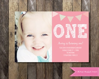 PRINTABLE First Birthday Invitation with Picture - 1st Birthday Invitation - Boys Girls Birthday Party 4x6 or 5x7