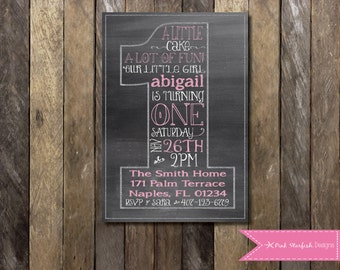 Chalkboard First Birthday Invitation, Chalkboard Birthday Invitation, One, 1st Birthday Invitation, First Birthday, Chalkboard , Printable