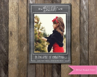 Chalkboard Christmas Card, Holiday Card, Photo Christmas Card, Christmas Card, Chalkboard, Chalkboard Holiday Christmas Card, Shabby Chic