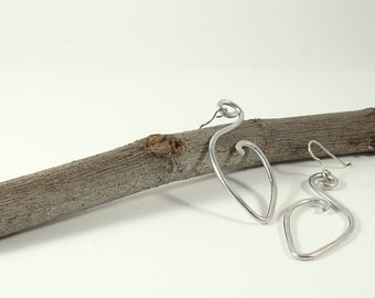 Gift for her. Contemporary earrings. Big silver aluminium earrings. Wire wrapped earrings. Aluminium jewelry. Boho jewelry