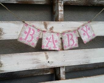Shabby Chic Baby Burlap Banner,Gender Reveal Banner,Maternity Photo Prop, Baby Photo Prop,Baby Shower Decor
