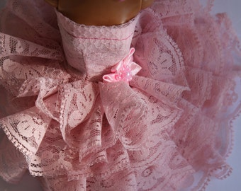 11.5 inch doll clothes such as barbie - pink lace dress
