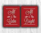 SET Christmas Printable, All is calm All is bright, Instant download, Red christmas print, winter, Home art, Digital file, Christmas decor