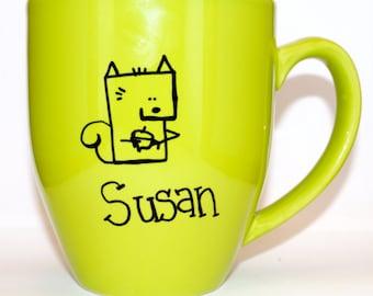 Hand Drawn Squirrel Name Mug (Customizable)