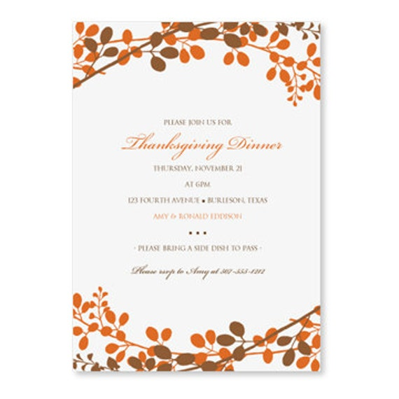 Thanksgiving dinner invitation template by loveandpartypaper for Thanksgiving invitation templates free word