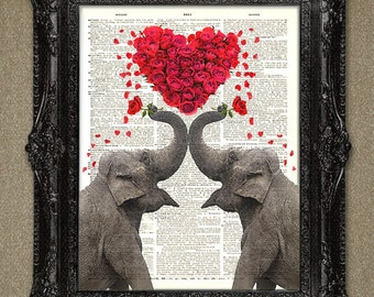 Elephant Dictionary page art print ELEPHANTS in Love-Heart of Roses on vintage book page upcycled vintage dictionary page book art print