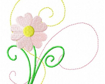 Machine Embroidery Heart Flower