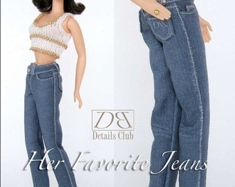 Sewing pattern for 11 1/2 inch fashion dolls:  Her Favorite Jeans