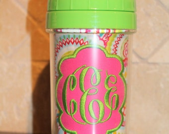 Pink/Green Floral Monogram Sippy Cup w/ Green Lid - Personalized w/ Monogram or Name - SIPPY or STRAW Top options