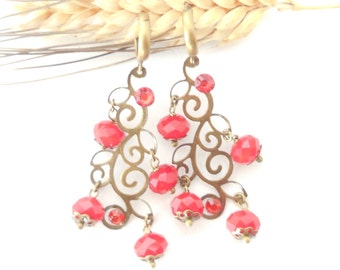Filigree  earrings with  red strass pendants