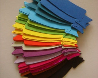 40 Bright Sizzix Banner die cuts for cards toppers cardmaking scrapbooking craft projects