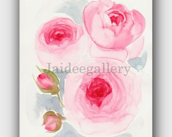 WATERCOLOR FLOWERS art, Original watercolor artwork,Watercolor floral painting, Art painting on paper 6x8 in.