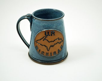 Rich Blue Glazed Handmade Mug with an Upper Michigan Logo