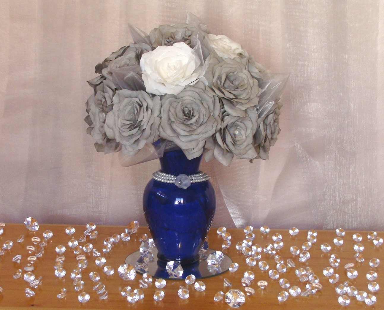 Royal blue and grey table centerpiece paper flower by