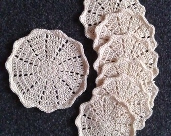 Crochet Beige Coasters, 7 Coasters, Cotton Coasters, Ready to Ship