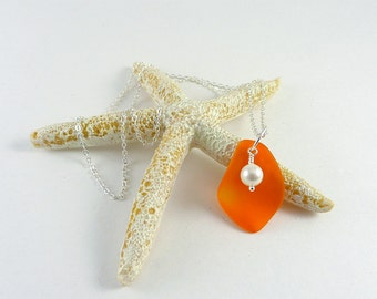 Orange sea glass necklace Orange necklace orange seaglass jewelry beach glass handmade necklace white pearls and sea glass gift for mom sis